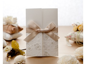 Wrap & Pocket Invitation Cards With Bows (20 Pieces One Set)