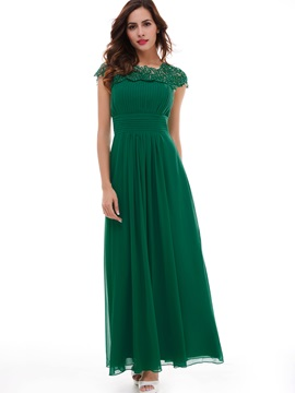 Elegant Scoop Neck Cap Sleeves Lace Long Evening Dress & attractive Under $100