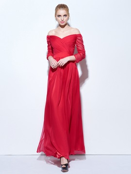 Cheap Off the Shoulder Half Sleeves Long Evening Dress & colorful Under $100