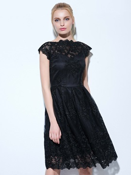 Cool Bateau Neck Appliques Little Black Dress & Under $100 on sale