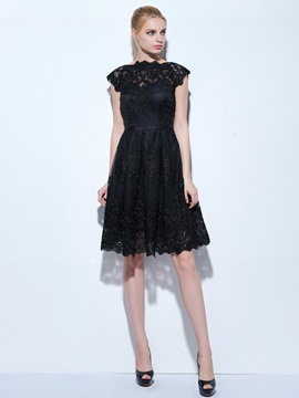 Cool Bateau Neck Appliques Little Black Dress