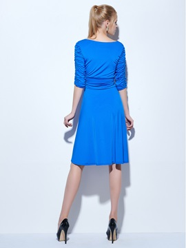 Casual V-Neck Ruched Half Sleeves Knee-Length Cocktail Dress