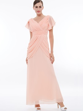 V-Neck Short Sleeves Pleats Draped Evening Dress