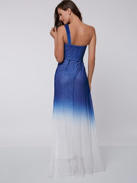 One Shouder Beading Gradient Color Evening Dress