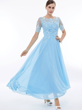 Scoop Neck Short Sleeves Beading Appliques Prom Dress
