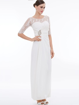 Fancy Scoop Neck Half Sleeves Lace Evening Dress