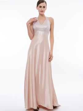 Shiny Halter Beading A-Line Evening Dress & Under $100 under 500