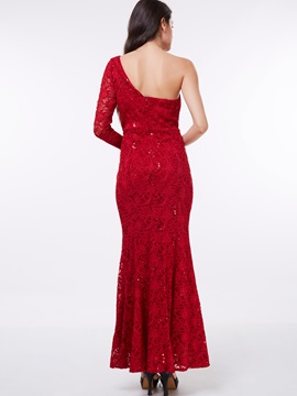 One Shoulder Long Sleeve Sequins Lace Evening Dress