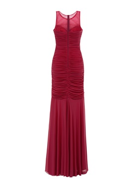 Straps Ruched Long Sheath Evening Dress