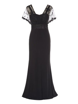 Short Sleeves Lace A-Line Evening Dress