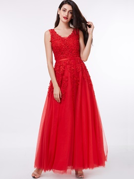 Straps Appliques Beading Red Evening Dress