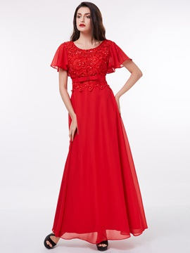 Short Sleeves Sequins Beading Lace Evening Dress & Under $100 2012