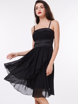 Spaghetti Straps Beading High Waist Black Cocktail Dress