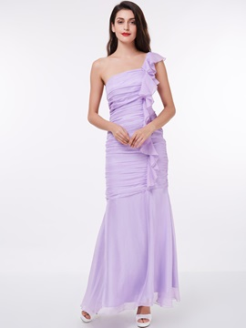 One Shoulder Pleats Ruffles Sheath Evening Dress