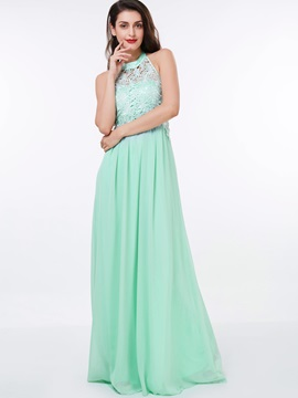 Halter A-Line Lace Long Prom Dress