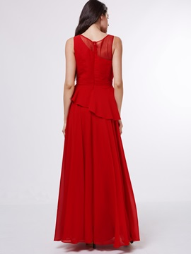 Straps Pleats Tiered Long Red Evening Dress