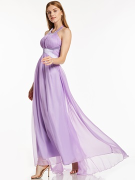 Halter Neck A-Line Draped Chiffon Evening Dress & modest Under $100