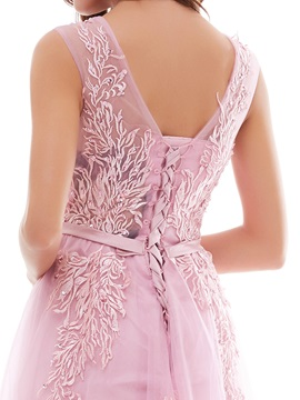 Charming A-Line Lace Tulle Lace-Up V-Neck Evening Dress