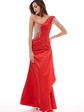 Classic One-Shoulder Pleated Sequins Tassel Evening Dress