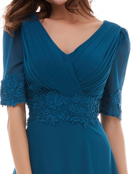 Elegant Short Sleeves V-Neck Pleated A-Line Evening Dress