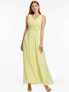 Concise V-Neck Lace-Up Flowers A-Line Long Evening Dress