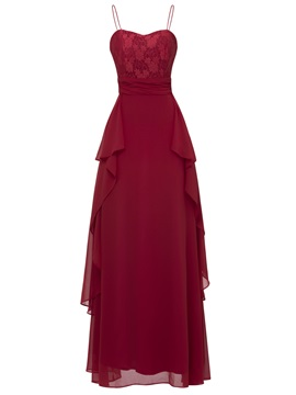 Classic Spaghetti Straps A-Line Lace Evening Dress