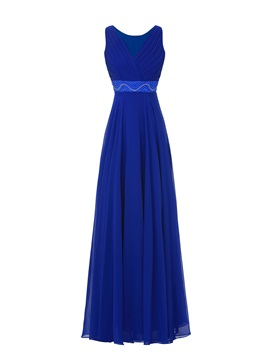 Empire Waist V-Neck Beading Prom Dress