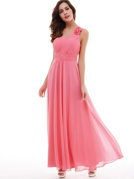 Sweet Flower One-Shoulder Pleated Chiffon A-Line Evening Dress & vintage Under $100