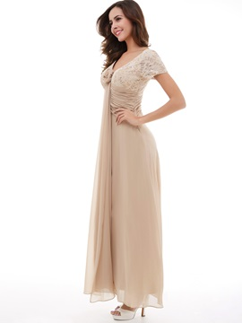 A-Line V-Neck Sequins Lace Evening Dress