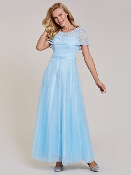Fancy Scoop Neck Lace A-Line Floor-Length Evening Dress