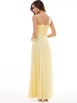 Concise Scoop Neckline Appliques Lace-Up A-Line Evening Dress