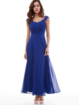 Timeless A-Line Straps Pleated Appliques Lace Evening Dress