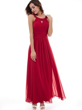 Simple A-Line Chiffon Scoop Sleeveless Ankle-Length Evening Dress