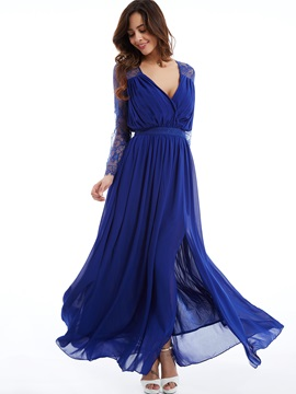 Fancy V-Neck Long Sleeves A Line Draped Lace Split-Front Evening Dress