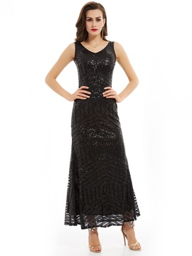 Gorgeous V Neck A-Line Sequins Ankle-Length Evening Dress & Under $100 for less
