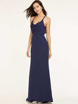 Concise Straps A-Line Zipper-Up Floor-Length Long Evening Dress