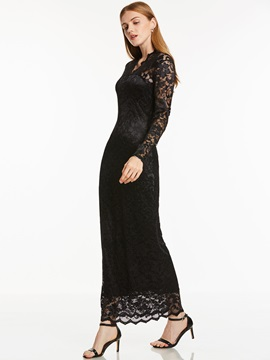 Elegant V Neck Sheath Long Sleeves Lace Ankle-Length Evening Dress & attractive Under $100
