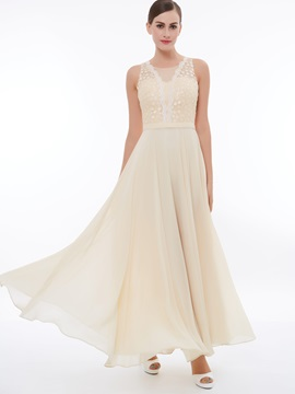 Elegant A-Line Scoop Lace Ankle-Length Evening Dress & Under $100 under 300