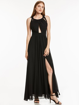 Concise A-Line Halter Draped Split-Front Ankle-Length Evening Dress