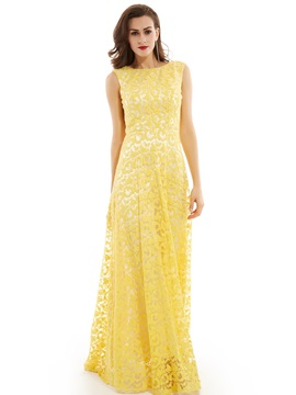 Scoop Neck Sleeveless Lace Long Evening Dress & fairytale Under $100