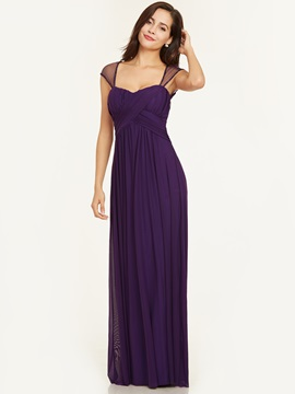 Square Neck Cap Sleeves A Line Evening Dress & simple Under $100