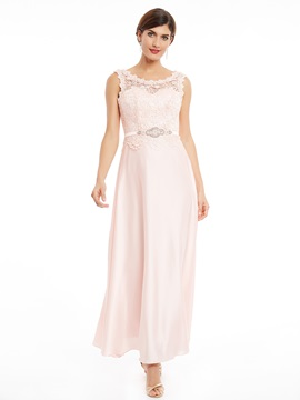 Scoop Neck Lace-Up Ankle-Length Lace Evening Dress & Under $100 under 500