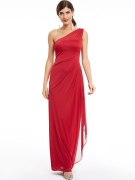 One Shoulder -Up Pleats Long Evening Dress & quality Under $100