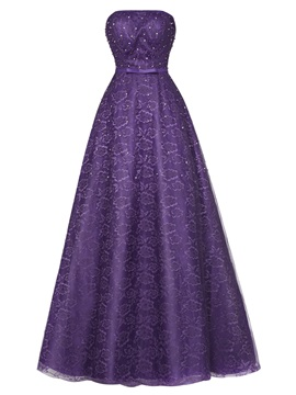 Cinsice Strapless Lace-Up Beaded Lace A Line Evening Dress & romantic Under $100