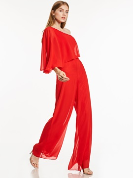 One Shoulder Beading Chiffon Long Evening Jumpsuits & Under $100 online