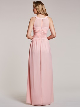 Scoop Neck Beaded Pleats A Line Prom Dress