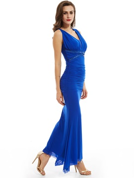 Sheath V Neck Zipper-Up Beaded Evening Dress & Under $100 on sale