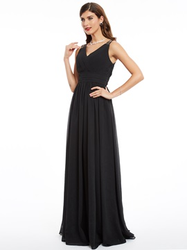 Stylish Lace V-Neck A-Line Ruched Floor-Length Evening Dress