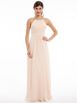 Elegant Halter A-Line Sleeveless Beading Ruched Floor-Length Evening Dress