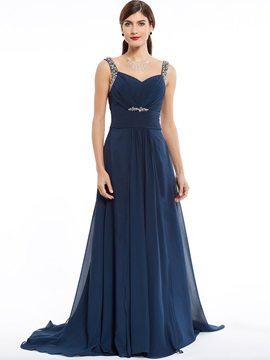 Elegant Straps Zipper-Up Beaded A Line Evening Dress & Under $100 for less